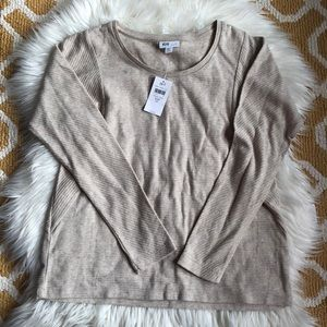 NWT j. jill wheat heather long sleeve top size XS
